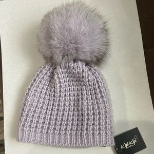 Kyi Kyi Genuine Fox Fur Pom Pom Waffle Knit Hat